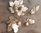 Holiday Hair Clip Set Golden Leaf Accessories Winter Wedding Hairpiece Bridesmaid Hair Accessories Rustic Woodland Wedding Greek Goddess