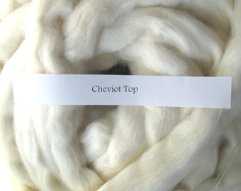 1lb Cheviot Wool Undyed Top Roving for Spinning Dyeing Batts Handspinning Fiber Wool