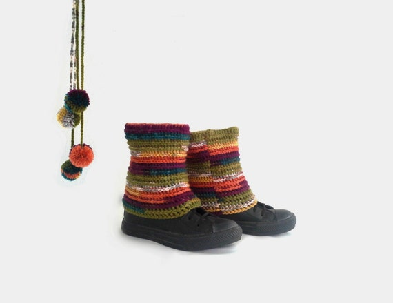 Pippi's Short Leg Warmers 1, Multicolor Crochet Ankle Cuffs, Reversible, Olive, Copper, Mustard, Purple, Petrol, Gray, Fall, Winter Fashion