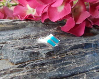 Ladies Native American Sterling Silver Turquoise Band Ring Size 6 3/4