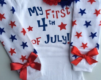 Baby Girl 4th of July outfit -4th of July leg wamers - personalized baby - 4th of July Headband - baby girl outfit - choose your pieces