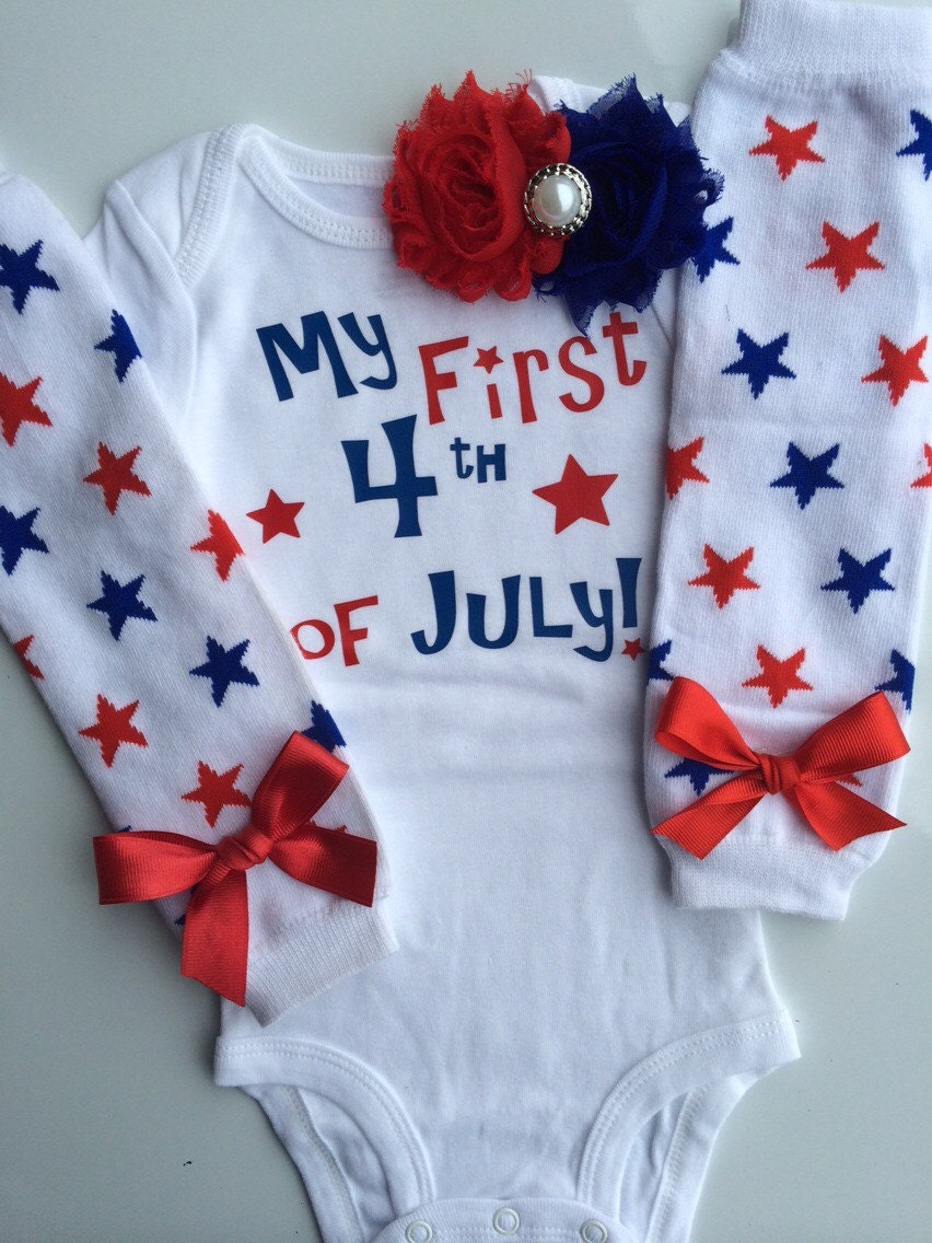 Celebrate your lil' firecracker's first fourth of July with My First 4th of July Baby Bodysuit. Their first name will be personalized above 1 of 4 phrase options.
