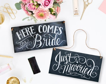 Just Married Sign - Here Comes The Bride Sign - Wedding Chalkboard - Wedding Ceremony Sign - Chalkboard Art