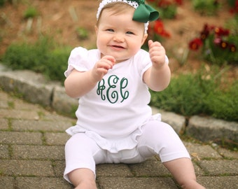 Girl, Toddler, Baby-Monogrammed White Shirt with Ruffle/Frill Hem & Free Hair bow is a Perfect Birthday or Baby Shower Gift! Ships in 3 Days