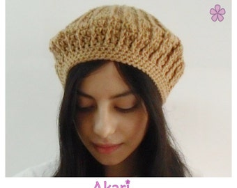 30% OFF Handmade crochet beret in camel - honey color. Braided ribbing beanie. ON Sale!