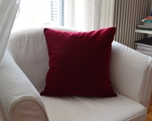 Throw pillow 18x18 inches Handmade Decorative Cushion Cover Deep red velvet Elegant Decorative Cushion Cover