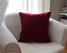 Throw pillow 18x18 inches Handmade Decorative Cushion Cover Deep red velvet Elegant Decorative Cushion Cover