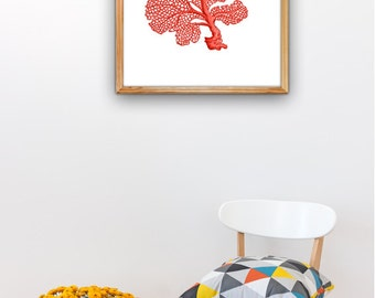 Red Sea fan coral II, A3 plus sized Poster Wall Art- Antique Illustration coral poster- sea life print, Beach house art, poster print SPP079