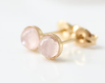 Rose quartz stud earrings • gold post earrings set with rose quartz gemstone • Pink ear studs