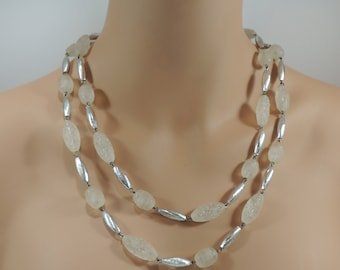 Vintage Necklace 48 inches of Fabulous Lucite and Silver Tone Textured Beads