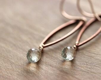 Green Amethyst 14K Rose Gold Filled Dangle Earrings, Prasiolite Earrings, Prasiolite Green Amethyst Jewelry, Rose Gold Gemstone Earrings
