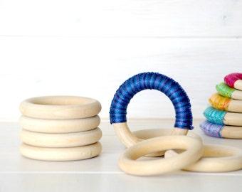"""5 Wood Rings - Large Wooden Rings - 3"""" Wood Rings (75MM)- Wood Rings - DIY Teething Rings - Toss Rings - Wood Crafts - Wooden Teething Rings"""