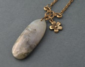 Oval Labradorite Necklace with bronze flower , boho necklace , bohemian jewelry , labradorite jewelry , labradorite pendant