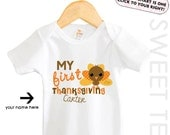 My First Thanksgiving Cute Turkey Personalized with Name and Year Baby Boy Girl  Bodysuit Toddler Shirt