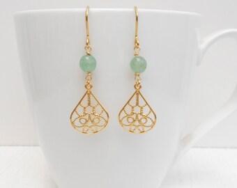 Green aventurine earrings, Filigree gold earrings