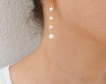 Long pearl earrings, Gold pearl earrings, Pearl dangle earrings