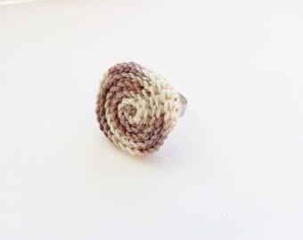 Bubble ring, fiber ring, crochet ring, crochet circle ring, melange brown ring, statement ring, boutique ring, adjustable ring, dainty ring