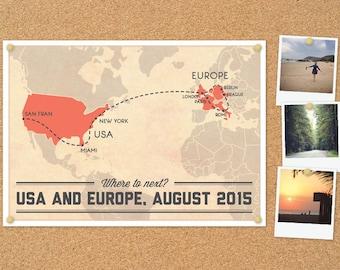 Personalised Trip Map DIY printable poster