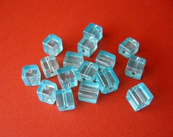 16pc Light Aqua Blue Glass Cube Beads