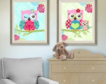 Floral Owl Nursery Art  -  Nursery art Set of 2 - 8X10  Prints - owls -  Pink and Aqua Nursery Print - Owl Decor for Girl Room