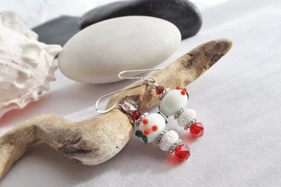 Red and White Lampwork Drop, Dangle Earrings with Holly for Christmas and the Holidays