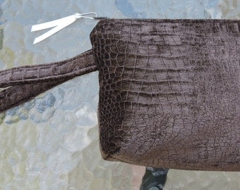 Brown with Brown Print Wristlet / Make up bag. Recreated by Carolyn, made from all Upcycled / Recycled Upholster Squares