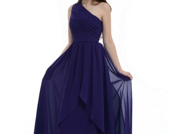 Royal Blue Bridesmaid Dress, One Shoulder Floor-Length Chiffon Bridesmaid Dress With Ruffle