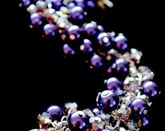 Purple chunky caterpillar bracelet, grape chunky bracelet, caterpillar bracelet, chunky bracelet, Toads Lily Pond Jewelry