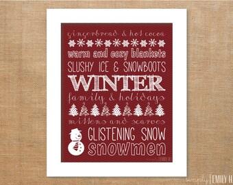 PRINTABLE Winter Subway Art Print-  8x10