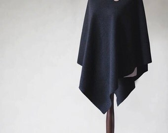 Cashmere poncho, women's poncho, women's cape, wool poncho, women's coat, women's sweater, pullover sweater, black poncho, black cape