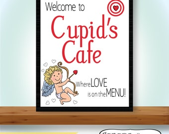 Valentine's Day, Cupid, Cupid's Cafe, Welcome to Cupid's Cafe where love is on the menu, Kitchen Art, Love, Digital, Printable Art