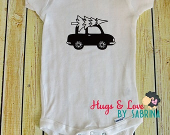 Car with Christmas Tree Baby Bodysuit