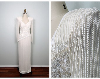 Heavy Pearl Beaded Sequin Gown // Fully Embellished Silk Wedding Dress // Ivory Cream White Sequined Gown 32 33
