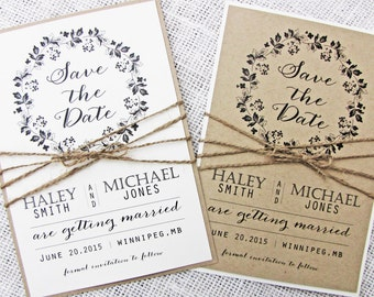 Rustic Save the Date Card, Modern Save the Date, Wedding Save the Date