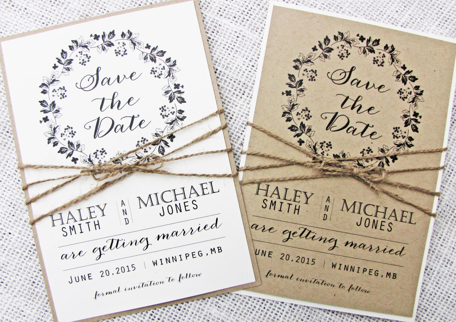 sample rustic save the date card modern save the date