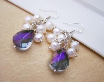 Swarovski Crystal Freshwater Pearl Cluster Bridesmaid Earrings / Gift for Her