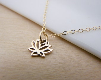 Tiny Gold Lotus Flower Charm 14k Gold Filled Necklace Simple Jewelry / Gift for Her