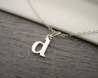 Typewriter Initial D Lowercase Tiny Sterling Silver Necklace / Gift for Her
