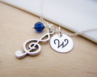 Music Treble Clef Charm Swarovski Birthstone Initial Personalized Sterling Silver Necklace / Gift for Her