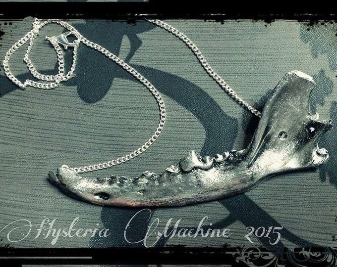 Silver Resin cast fox jaw necklace