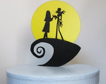 Wedding Cake Topper -The Nightmare Before Christmas Jack and Sally silhouette with a yellow moon
