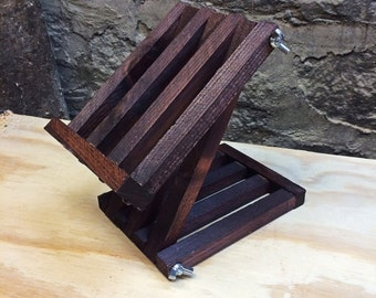 iPad Stand/ Tablet Holder - Rustic Wood, Adjustable