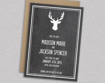 DIY Printable Wedding Save the Date: Antlers - Deer - Woodland - Vintage - HIpster - Rustic - The Madison