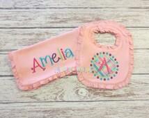 Girls Pink Monogram Ruffle Bib and Burp Cloth Set - Baby Ruffle Bib, Baby Ruffle Burp Cloth, Baby Girls, Monogram Bib, Monogram Burp Cloth