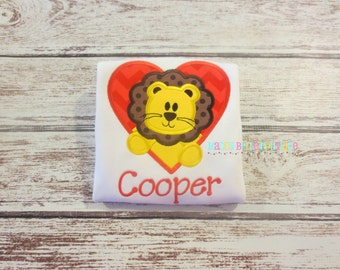 Fun Valentine's Day Lion Heart Appliqued Shirt - Embroidered, Personalized, Monogram, Girls or Boys, Lion, Heart, Valentine's Day Shirt