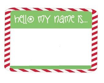 Hello my name is sticker etsy for Name tags christmas