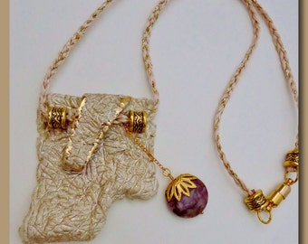 Golden Elephant Skin Polymer Clay Necklace