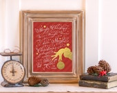INSTANT DOWNLOAD the Grinch Christmas art wall printable gold foil decor decoration quote holiday print  8x10   Maybe Christmas he thought