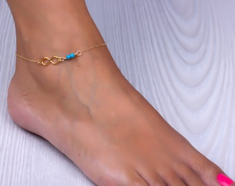 Infinity anklet / Turquoise anklet / Infinity ankle bracelet / Turquoise jewelry / Rose gold anklet / Swarovski anklet / Bohemian | Panopia