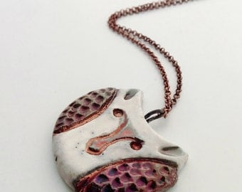 ceramic raku owl pendant necklace with bronze copper
